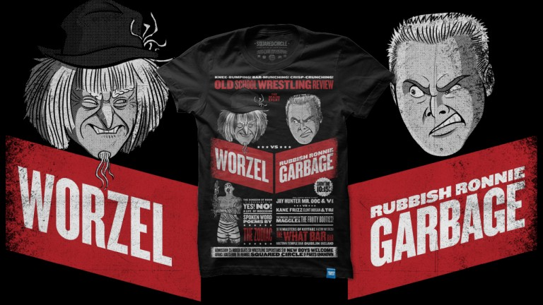 Worzel vs Garbage Tshart Fight BLACK WS10